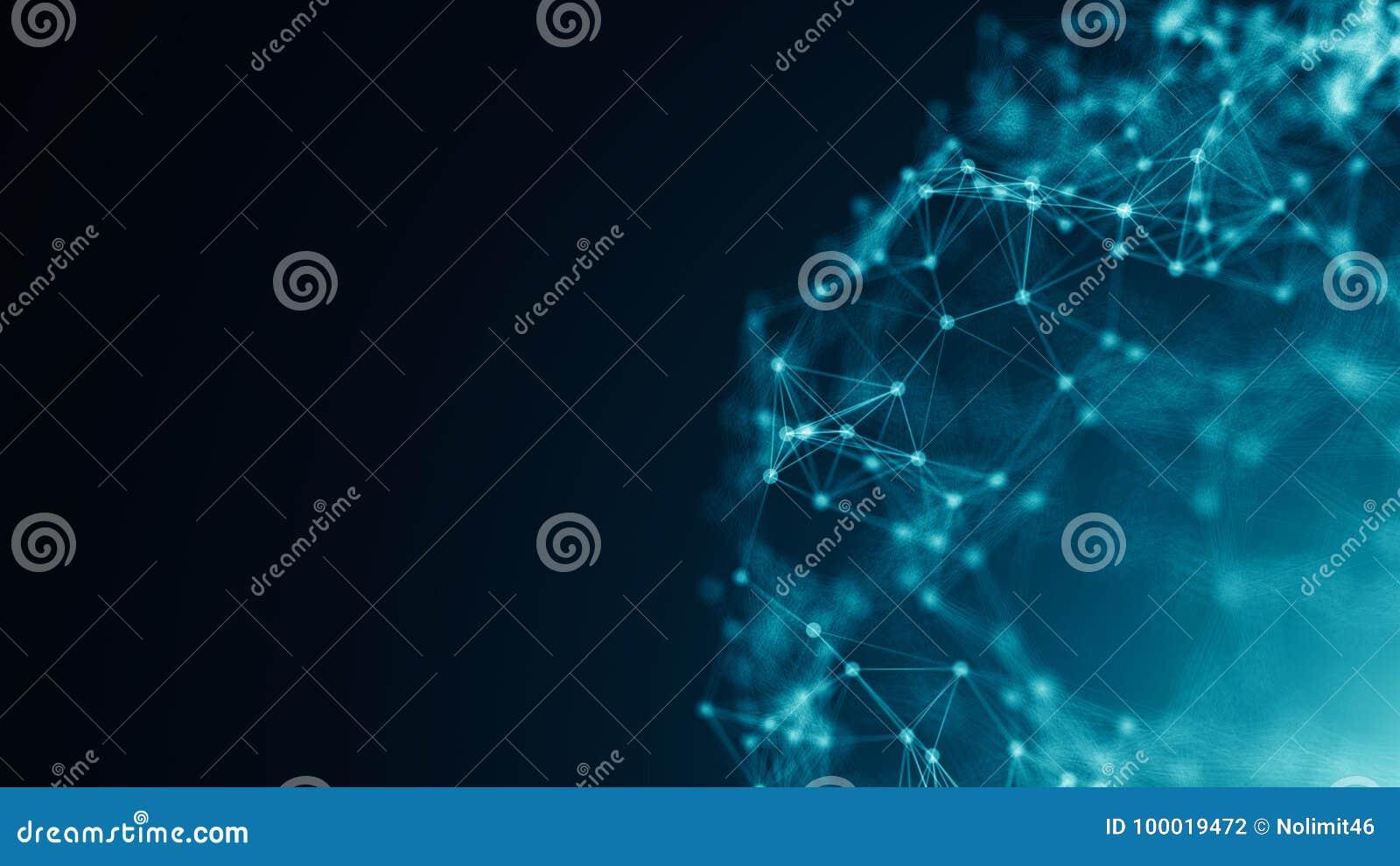 Punti astratti del collegamento Priorità bassa di tecnologia Tema del blu del disegno di Digital Concetto della rete