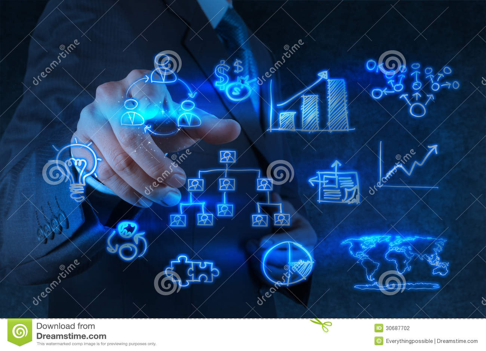 Punti della mano dell uomo d affari a strategia aziendale