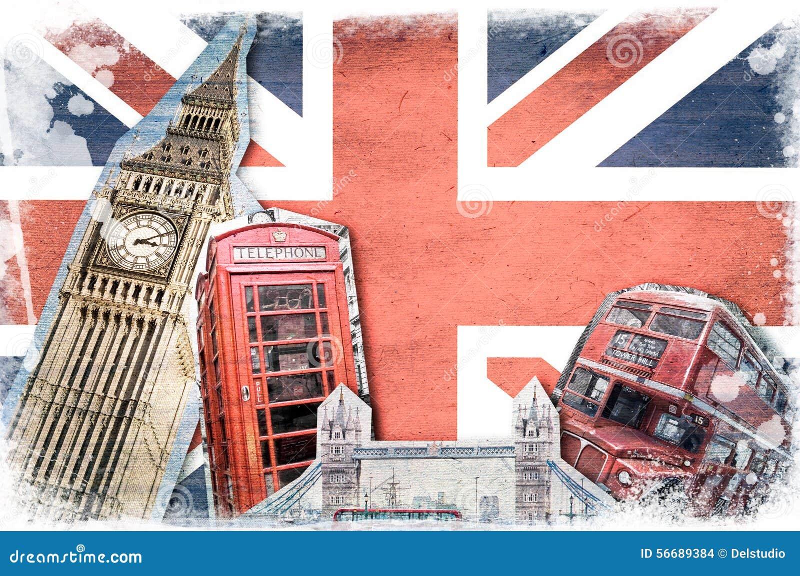 Punti di riferimento di londra collage d 39 annata fotografia stock immagine di collage retro - Londra punti d interesse ...