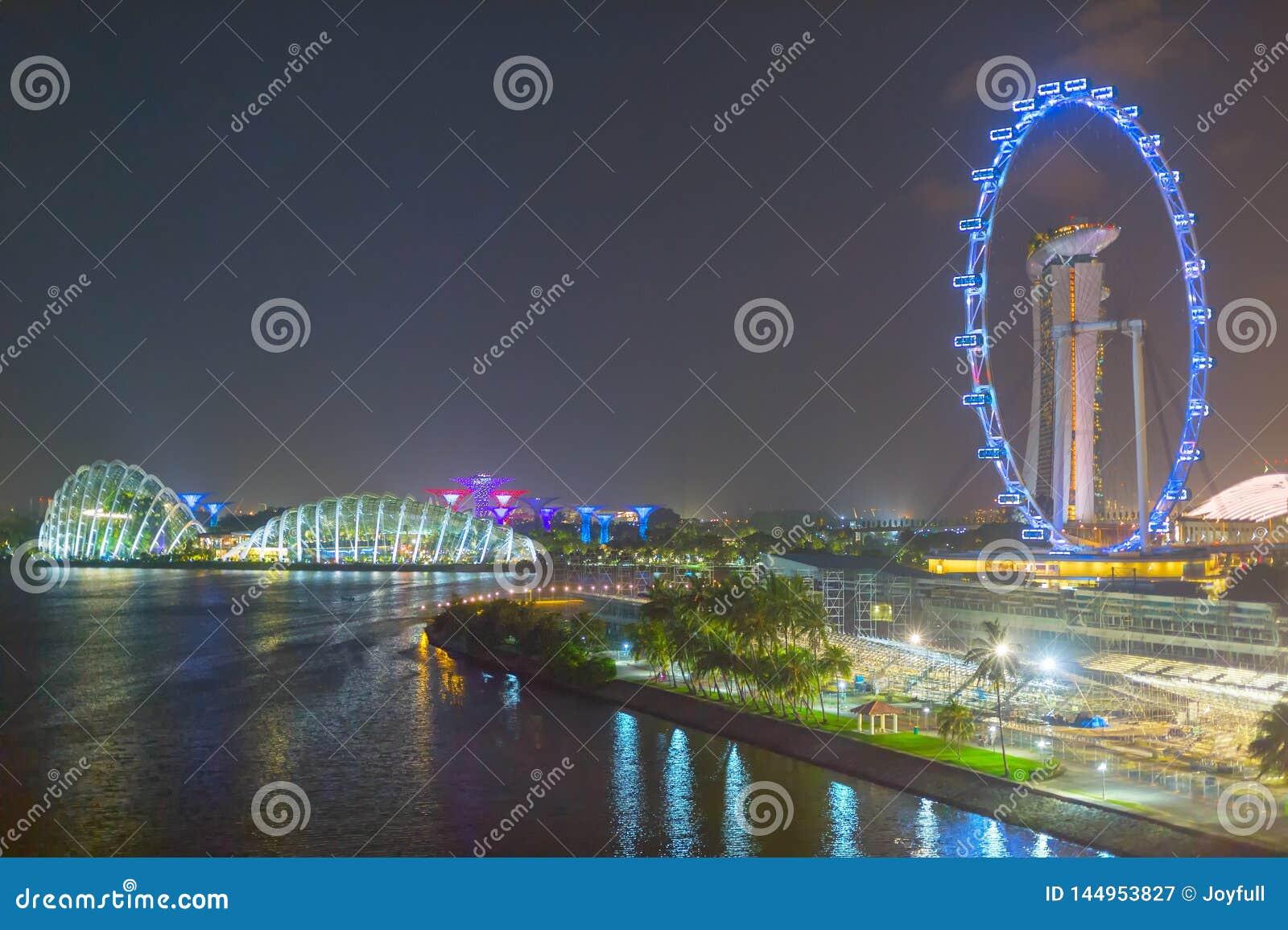 Punti di riferimento di Singapore alla notte
