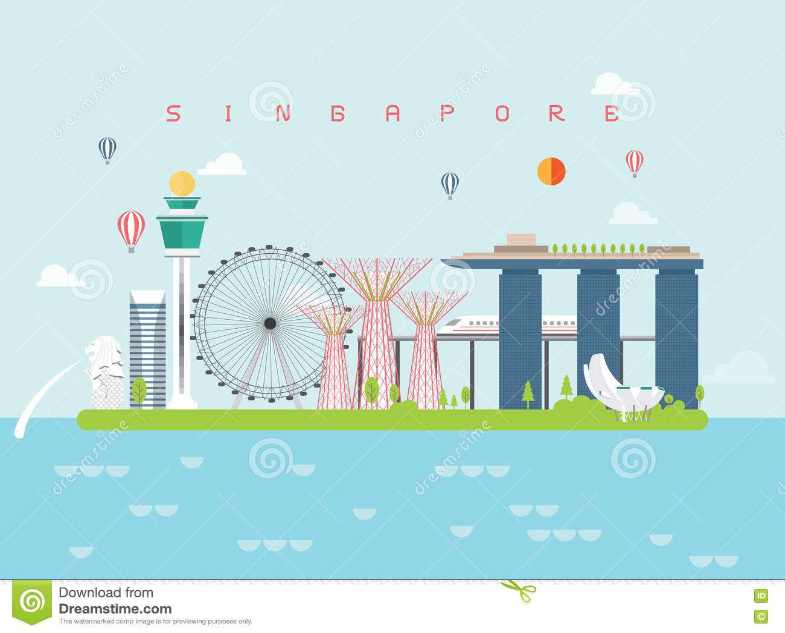 Punti di riferimento viaggio di Singapore e vettore di viaggio