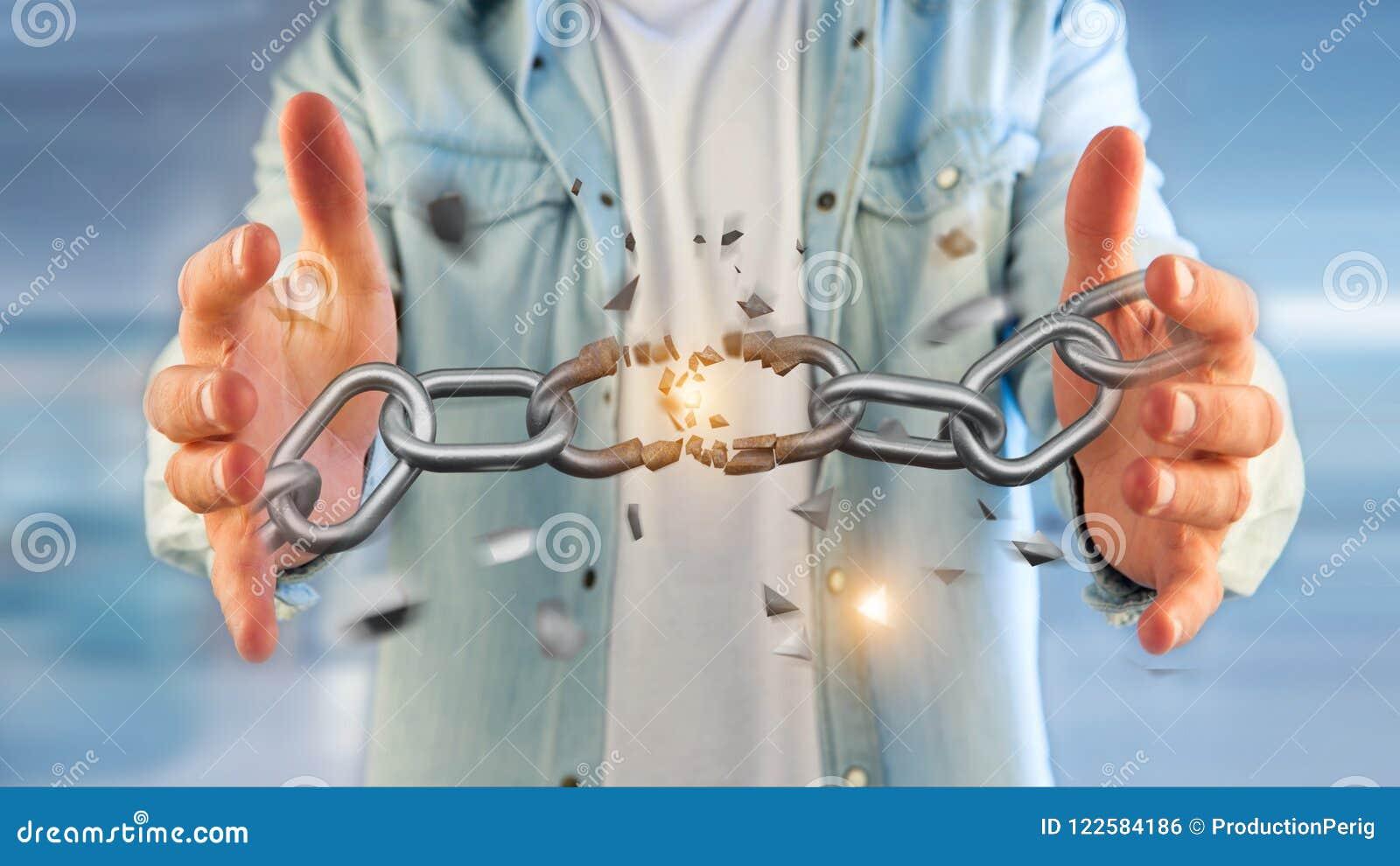 Punto débil de una cadena quebrada que estalla - 3d rinden