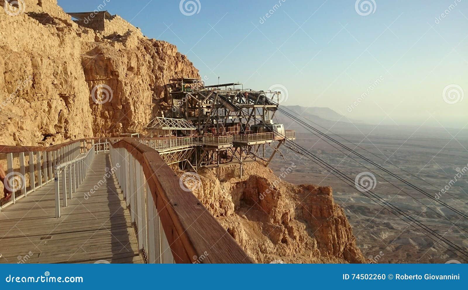 punto di arrivo della cabina di funivia di masada