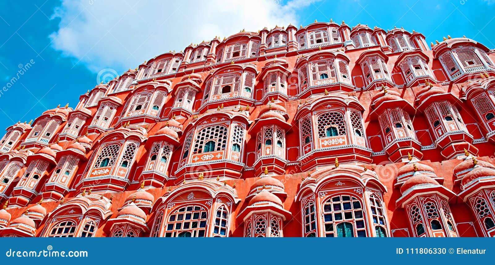 Punto di riferimento famoso del Ragiastan - palazzo del palazzo di Hawa Mahal della vittoria