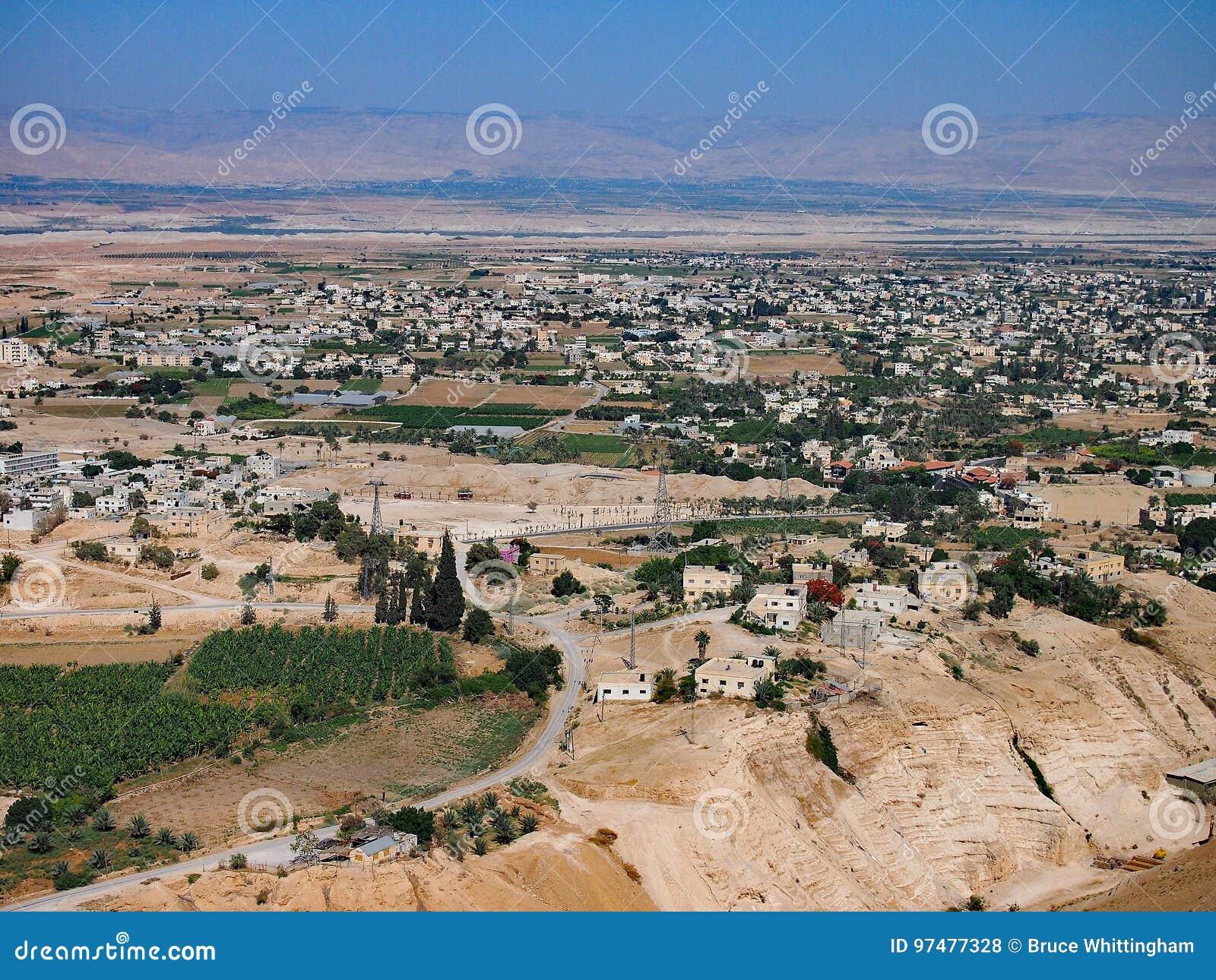 Punto di vista di Jericho From The Monastery della tentazione, Cisgiordania