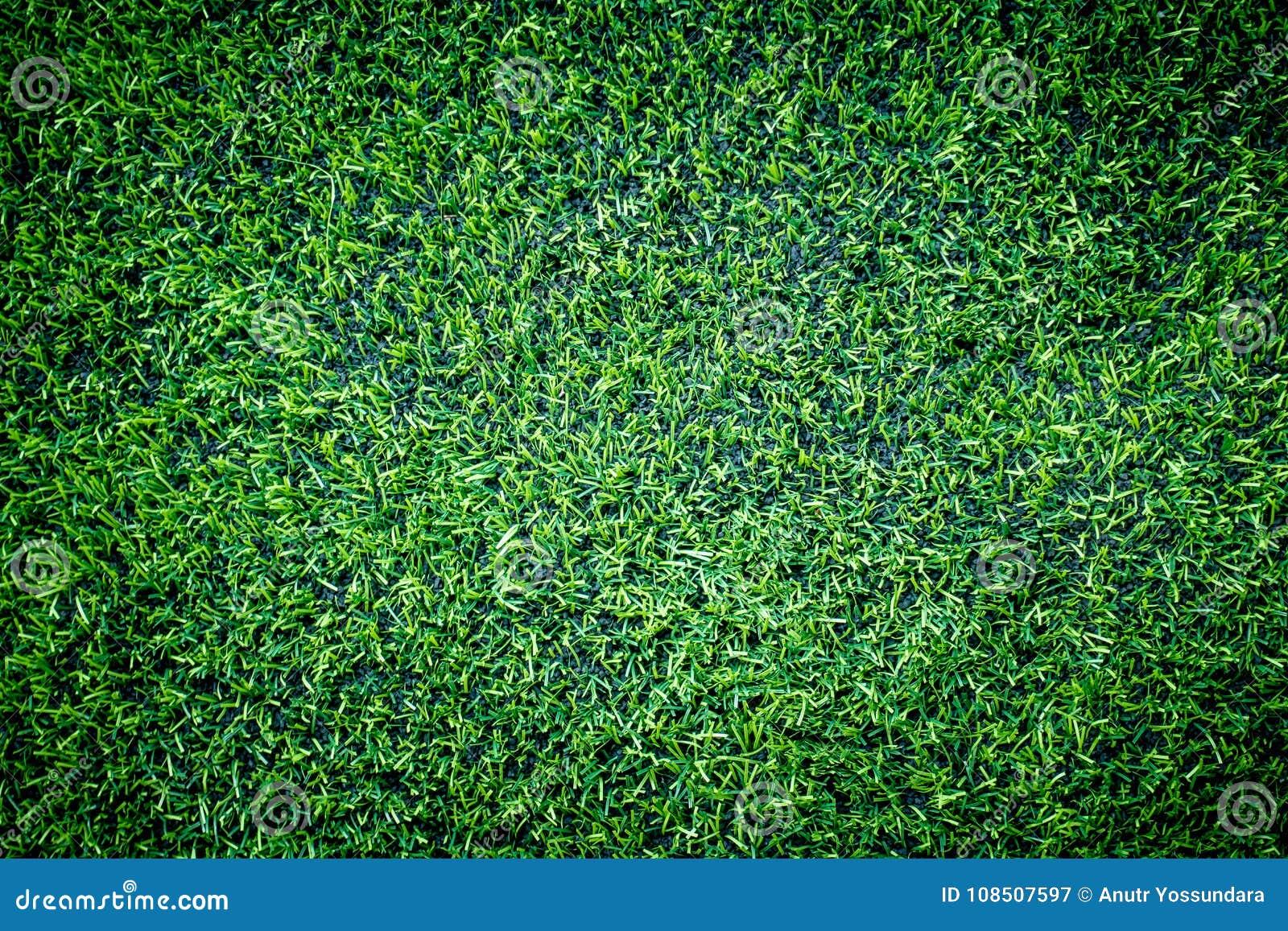 Punto di vista superiore dell erba di addestramento di calcio dell interno