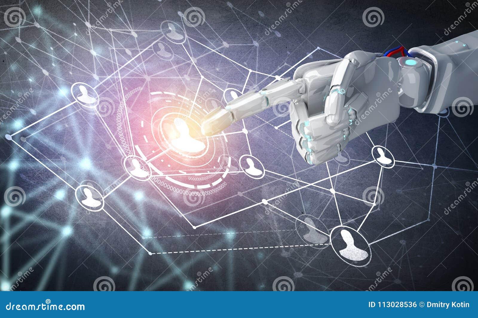 Punto humano de la mano en el centro de los iconos sociales de la red representación 3d