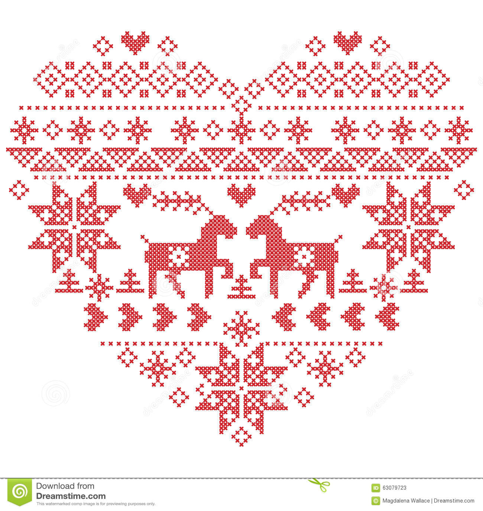 Punto nordico scandinavo di inverno, tricottante il modello di natale dentro nella forma di forma del cuore compreso i fiocchi di