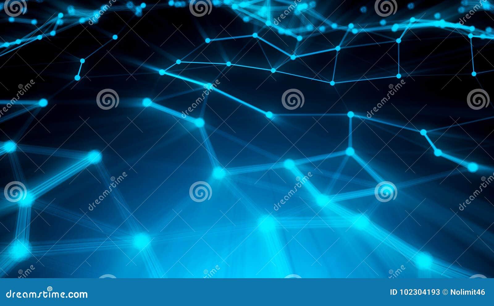 Puntos abstractos de la conexión Fondo de la tecnología Tema del azul del dibujo de Digitaces Concepto de la red