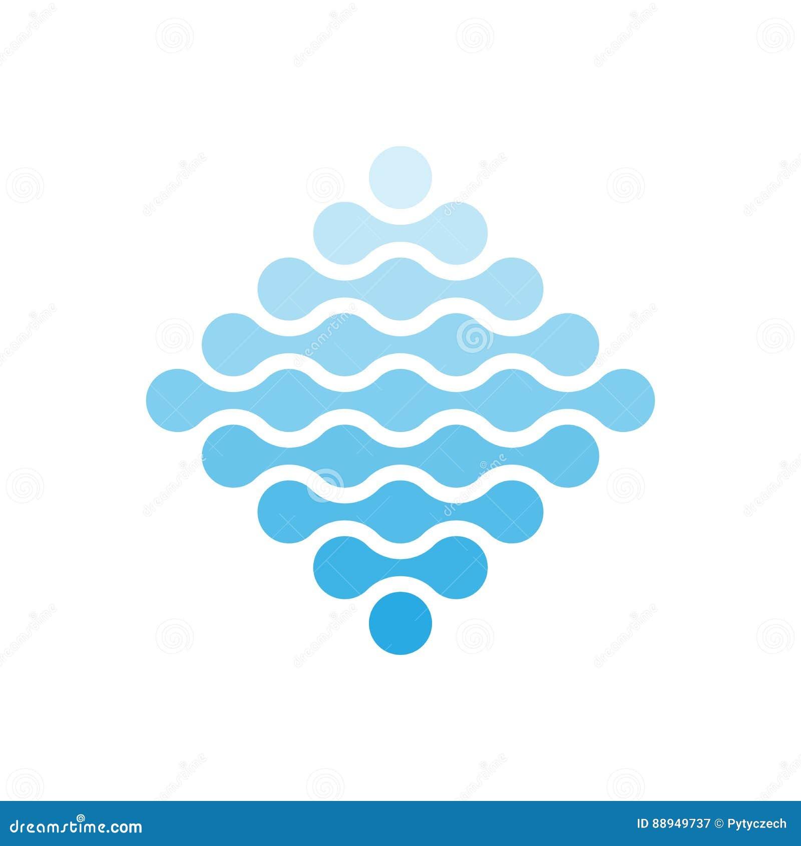 Puntos conectados en una forma del Rhombus y de sombras del azul Concepto del tema del agua Elemento abstracto del diseño Vector