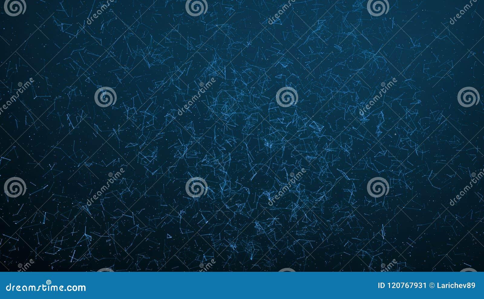 Puntos conectados extracto en fondo azul marino Concepto de la tecnología