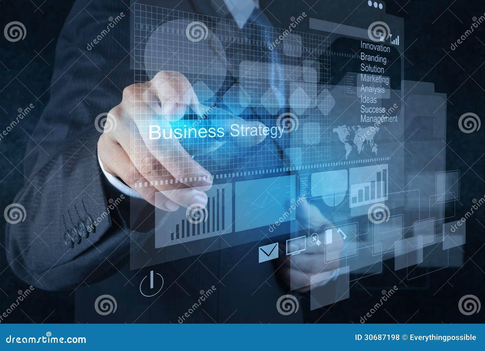 Puntos de la mano del hombre de negocios a la estrategia empresarial