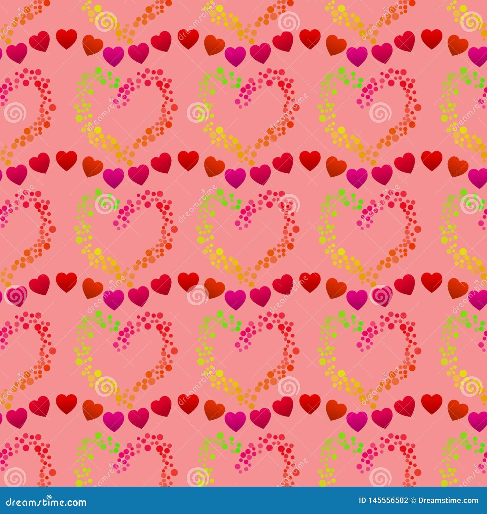 Puntos multicolores que forman una forma y las líneas de pequeños corazones rojos, un modelo romántico inconsútil del corazón en