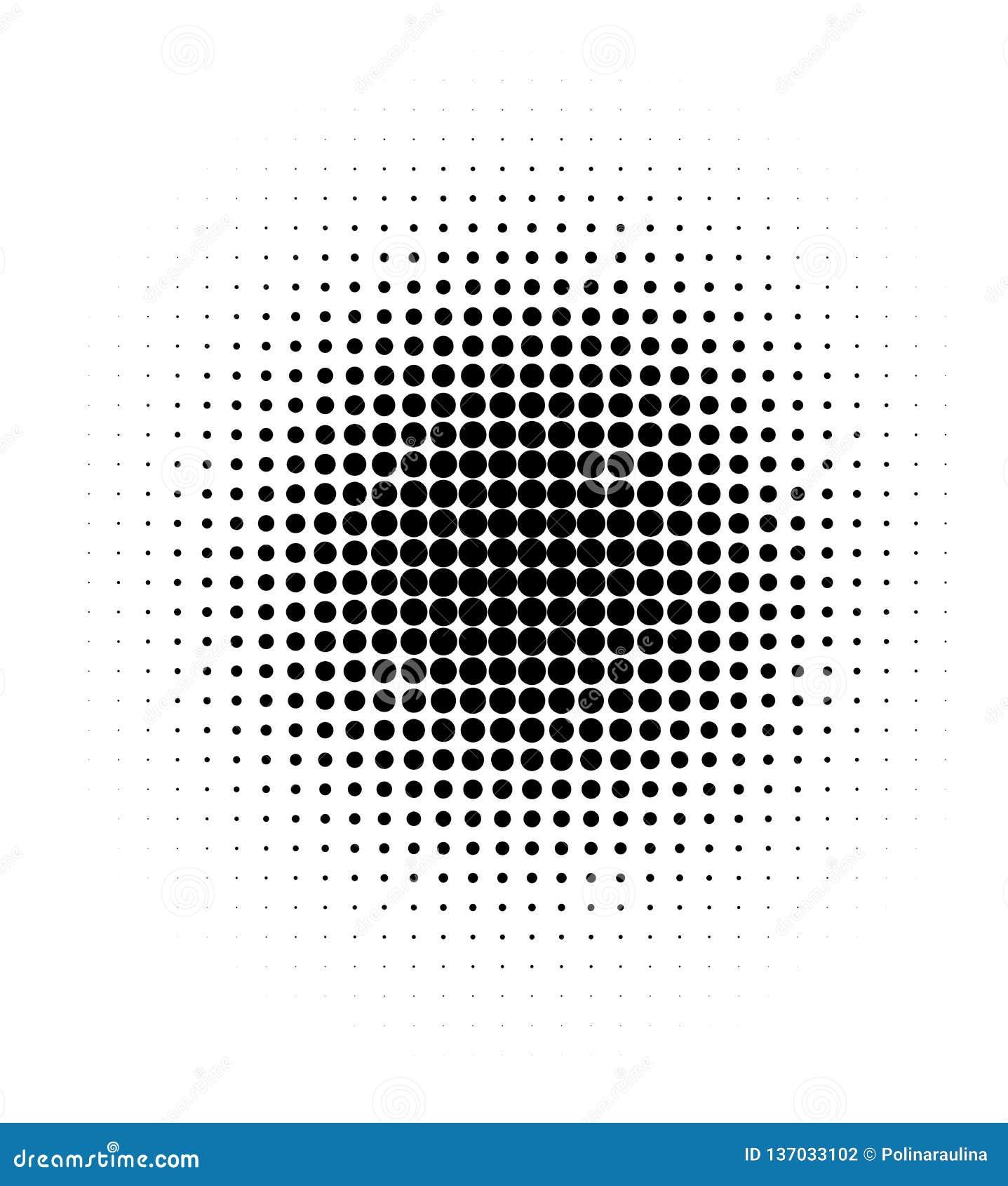 Puntos negros de semitono en el fondo blanco