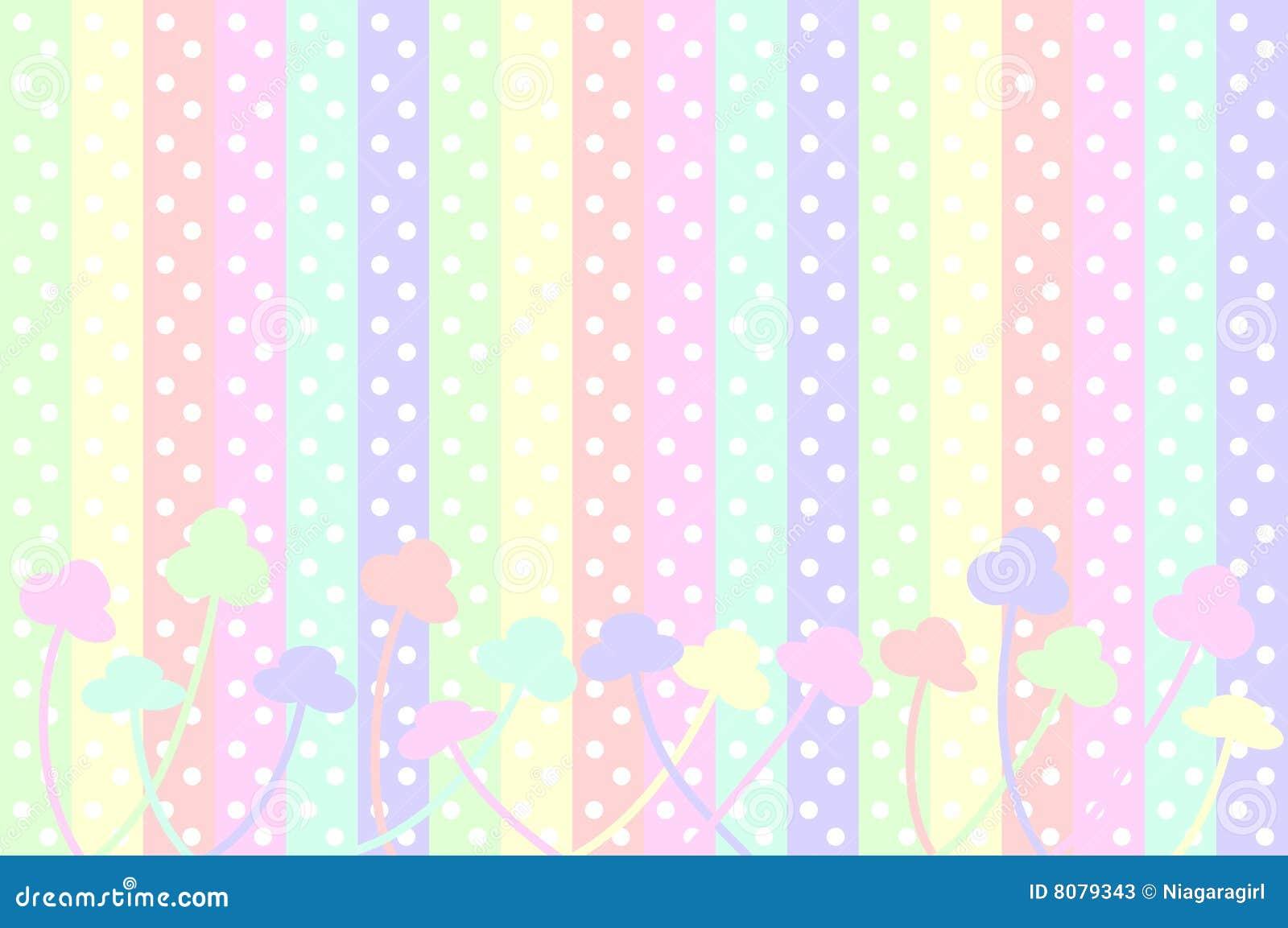 Puntos Y Flores En Colores Pastel Ilustración Del Vector