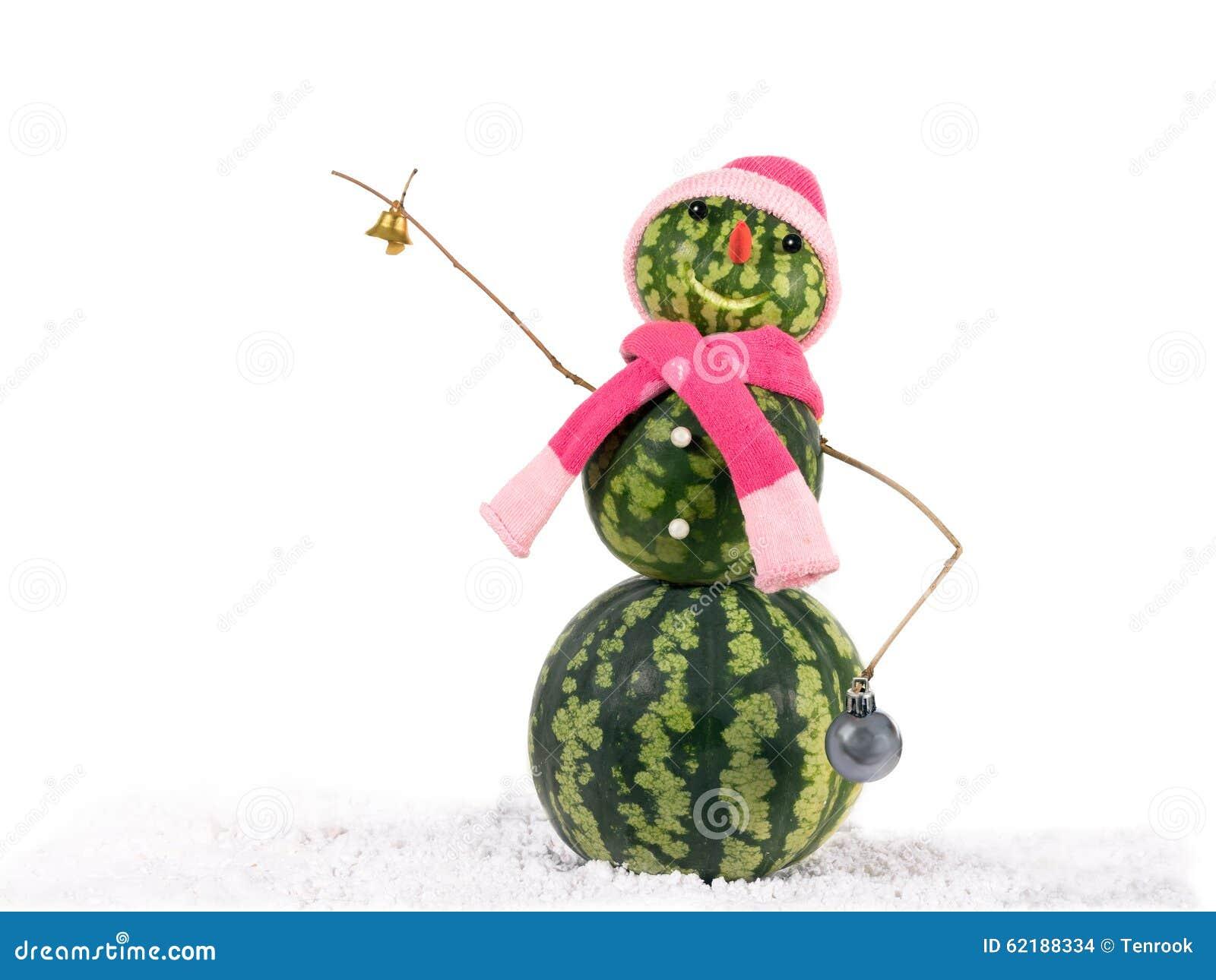 Pupazzo di neve di natale dell 39 anguria con la campana e for Concetto di piani per la casa