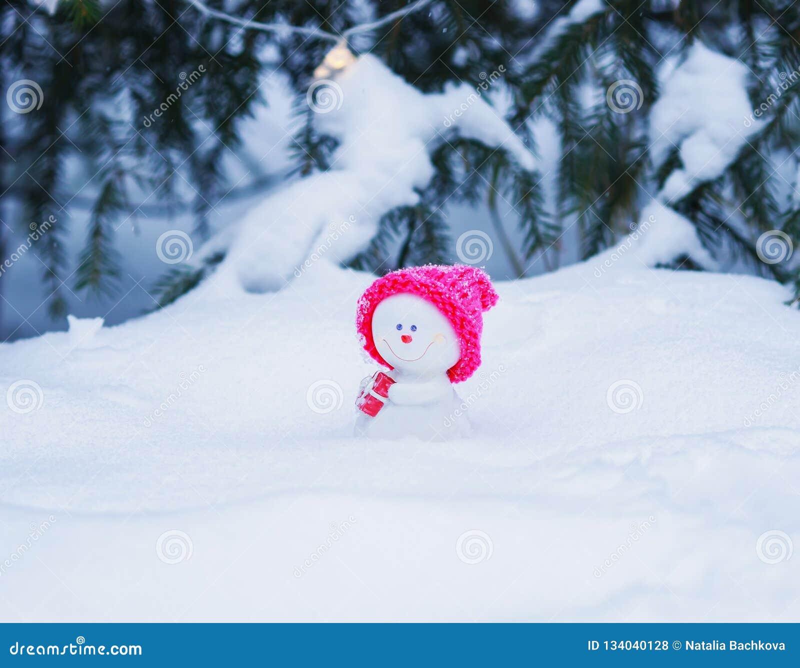Pupazzo di neve divertente in un cappuccio rosa luminoso che si siede nel parco con un regalo sotto l albero in ghirlande d ardor