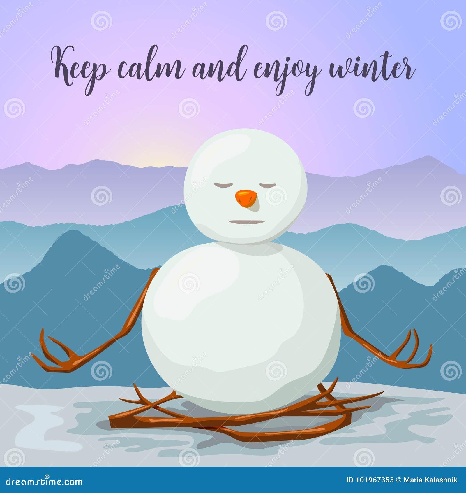 Auguri Di Natale Yoga.Pupazzo Di Neve Pacifico E Rilassato Posizione Del Loto Di