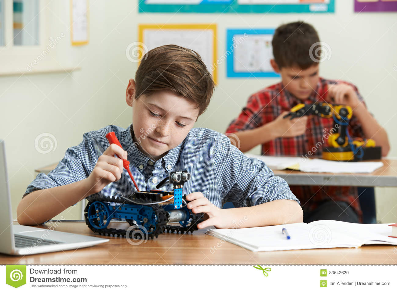 Pupils In Science Lesson Studying Robotics Stock Photo Image Of