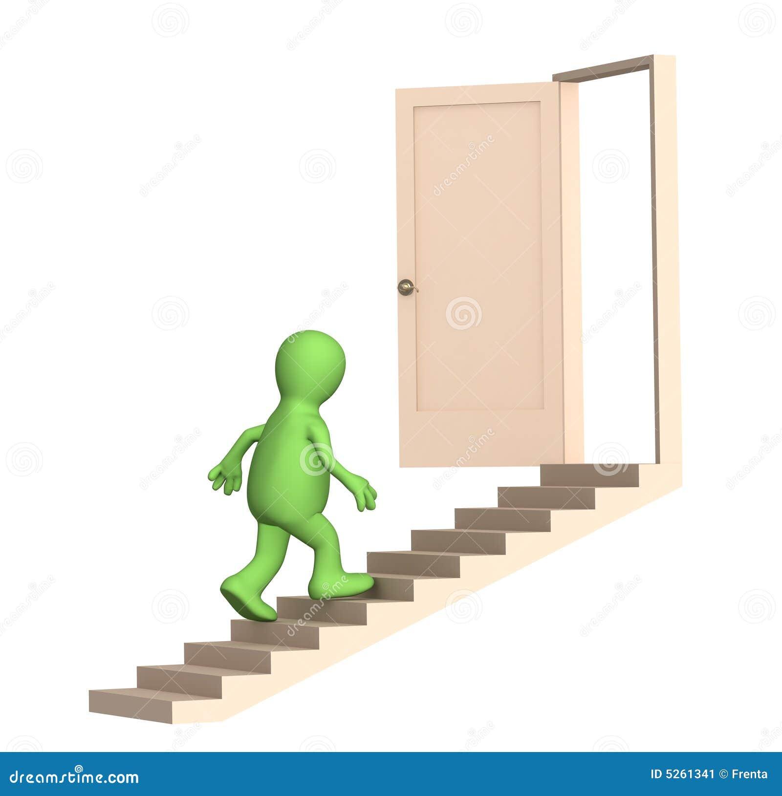 Puppet Walking Upstairs To An Open Door Stock Image - Image: 5261341