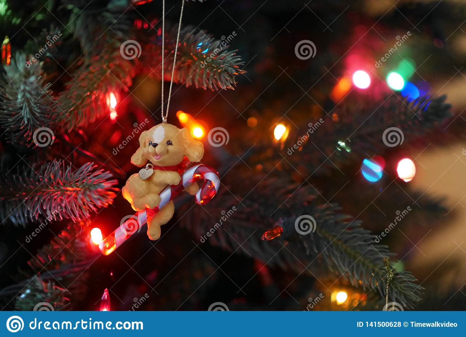 Puppy with candy cane - Retro Christmas tree ornament