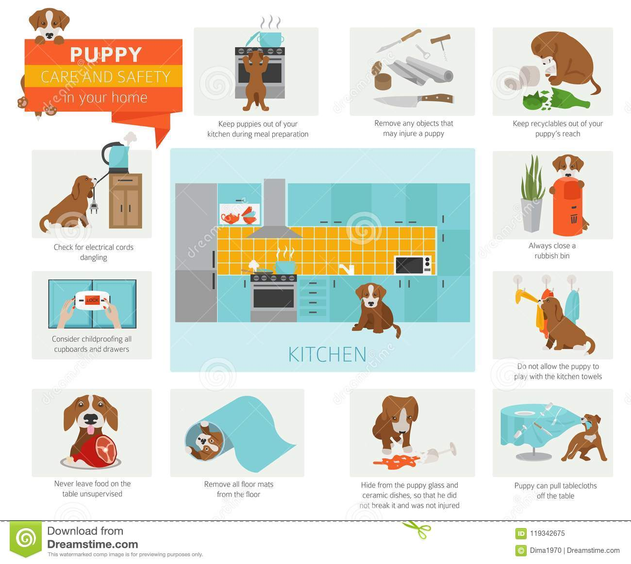 Puppy Care And Safety In Your Home. Kitchen. Pet Dog Training In ...
