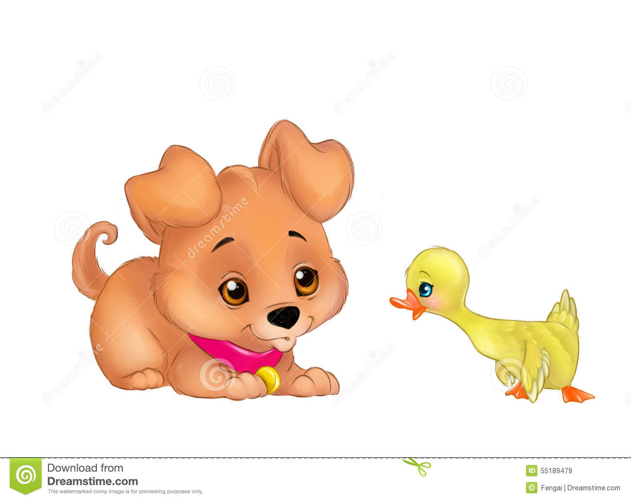 Puppy And Duckling Cartoon Illustration Stock Illustration - Image ...