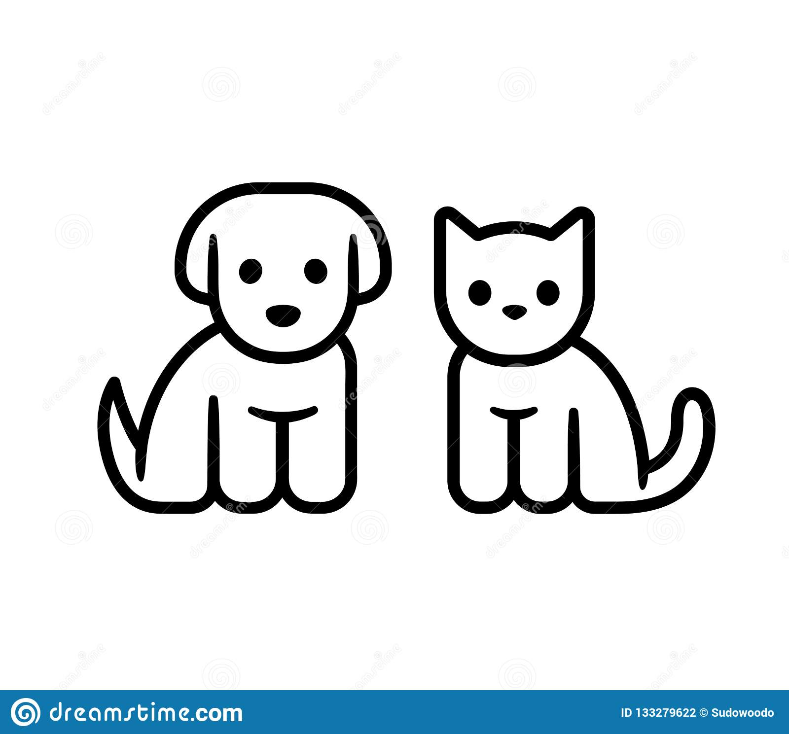 Puppy And Kitten Icon Stock Vector Illustration Of Geometric