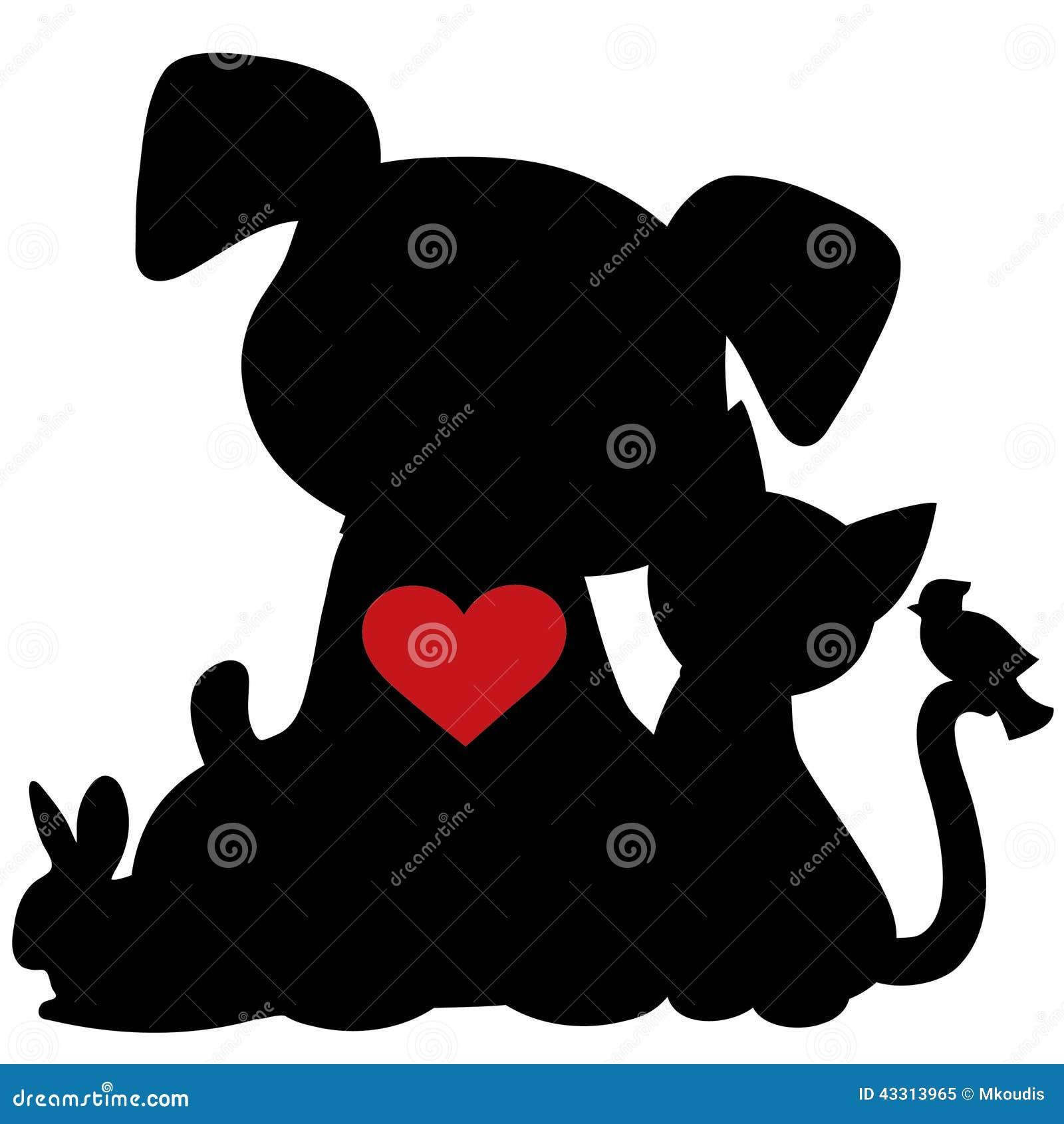 Silhoette Vector Dog Cat Rabbit Bird