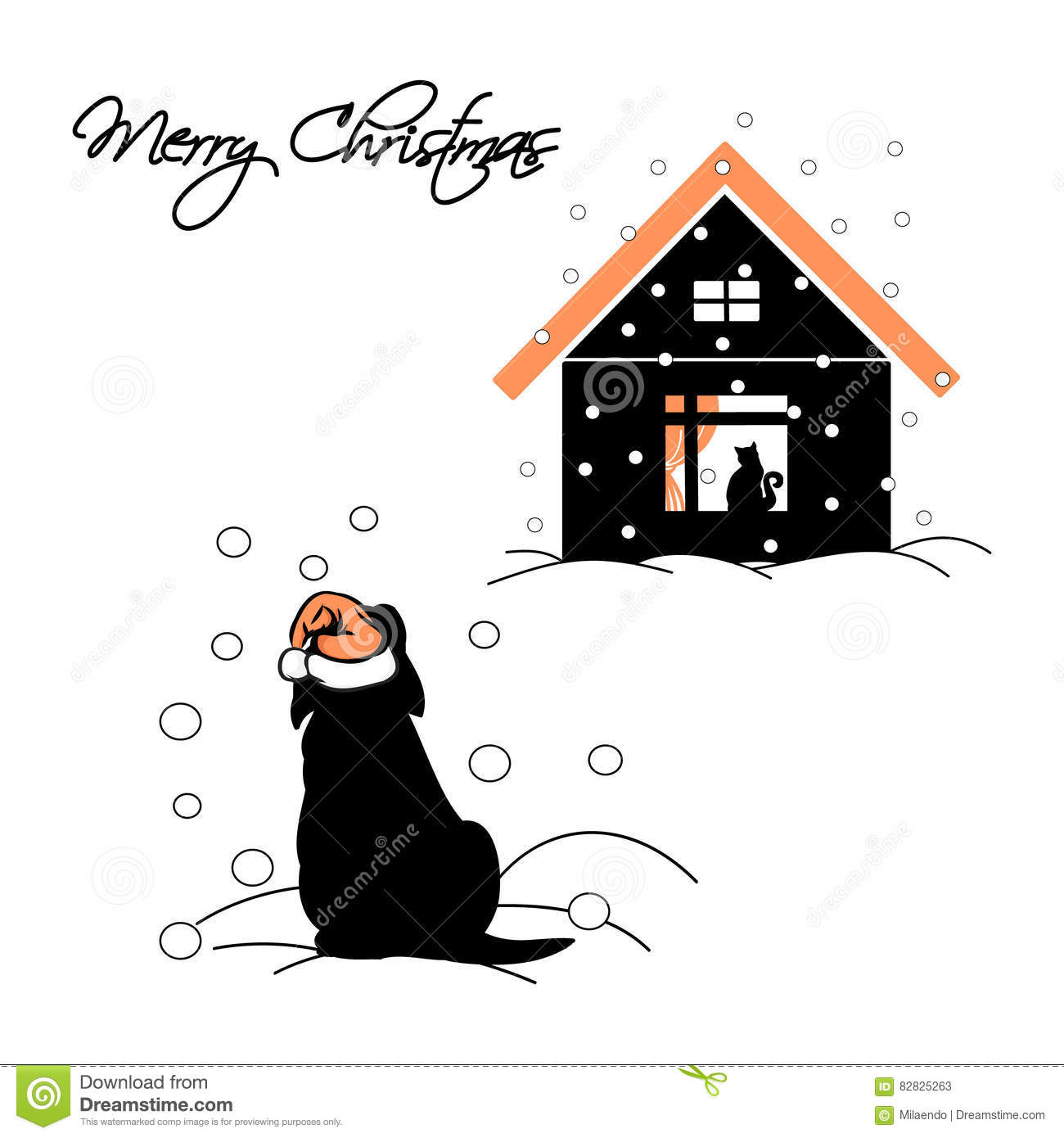 The Puppy In The Santa Hat In The Snow Cartoon Vector
