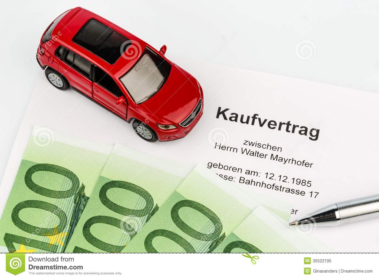Purchase Agreement For Car Stock Image Image Of Cost 35522195