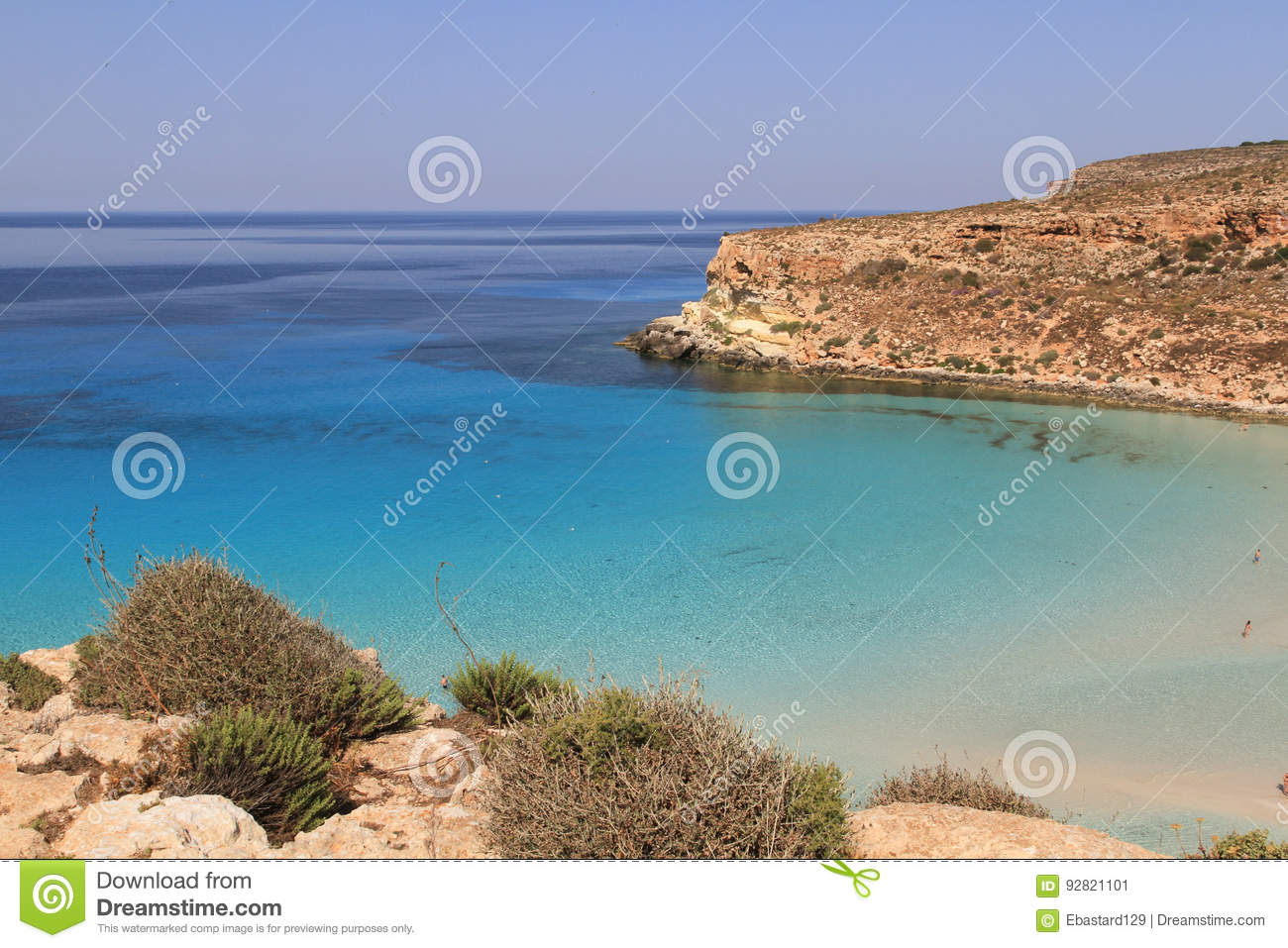 Pure crystalline water surface around an island - Lampedusa, Sic