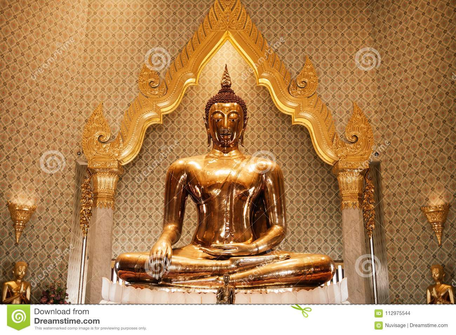 Pure gold Buddha sculpture at Wat Trimitr in China town Bangkok, Thailand