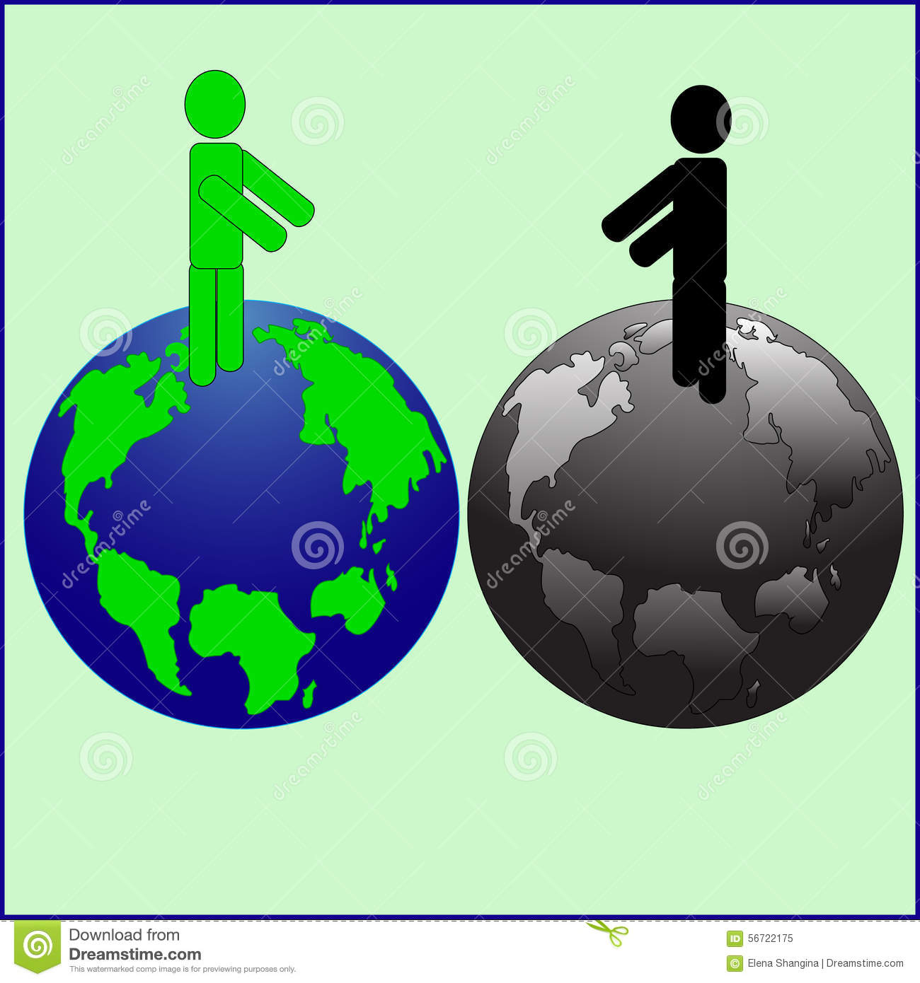 The Pure And Polluted Planet. Stock Vector - Image: 56722175