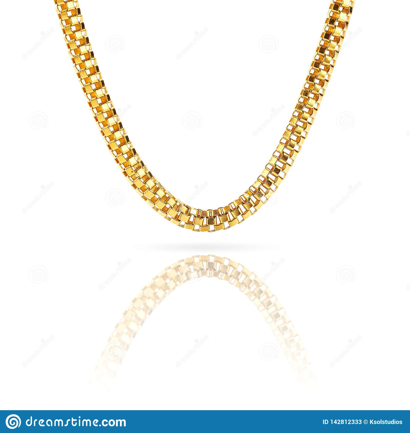 Pure solid gold chain necklace bracelet isolated on white background