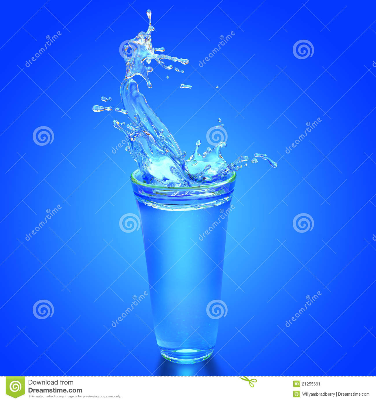 Blue light and splashed water in cold glass on blue background.
