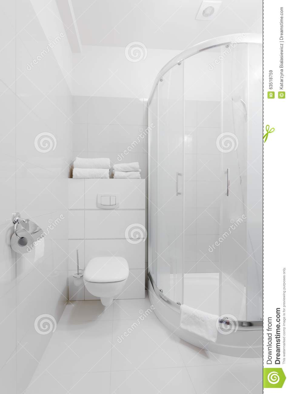 Pure white bathroom design stock image. Image of toilet - 63518759