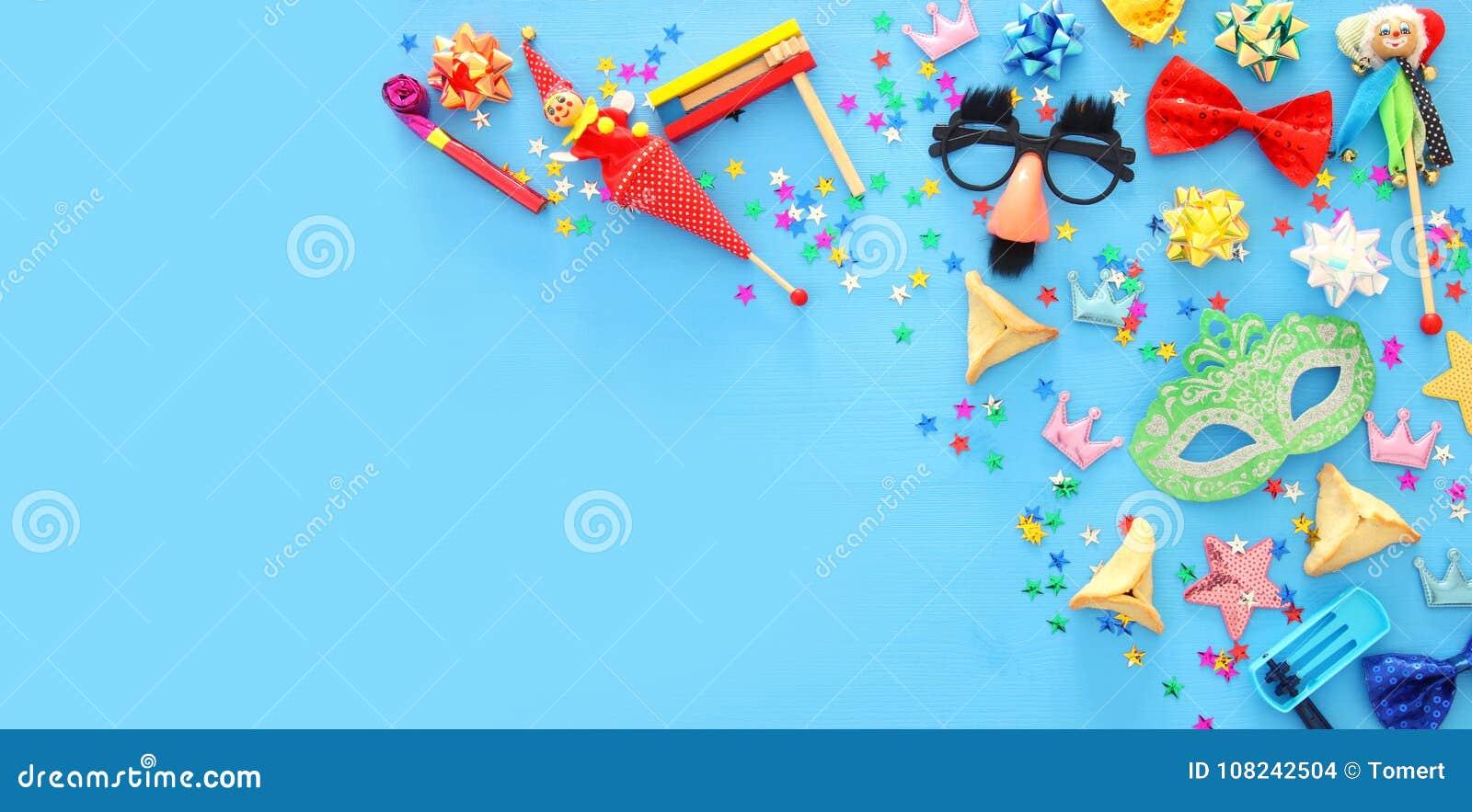 Purim świętowania pojęcie & x28; żydowski karnawałowy holiday& x29; Odgórny widok