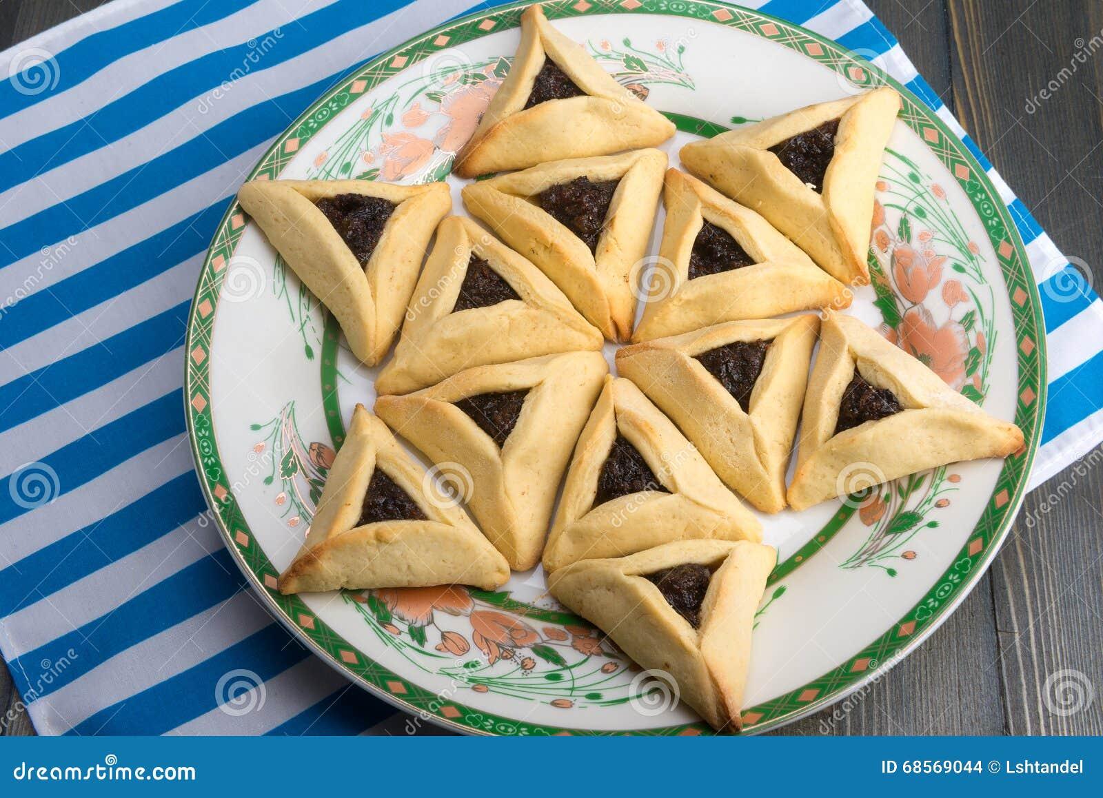 Purim - as cookies tradicionais hamantaschen ou o orelha de Haman