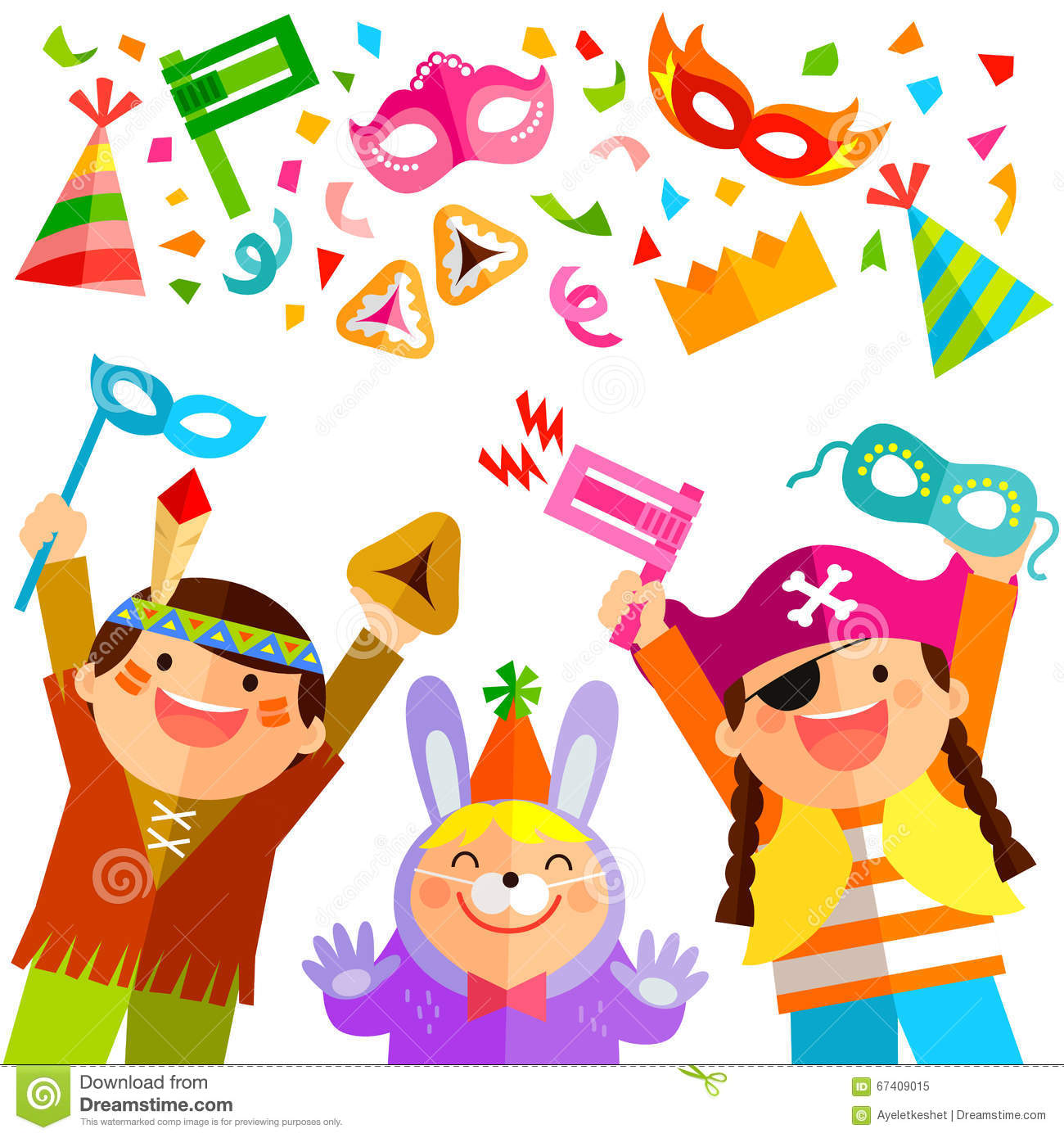 Purim Elements And Kids Stock Vector - Image: 67409015