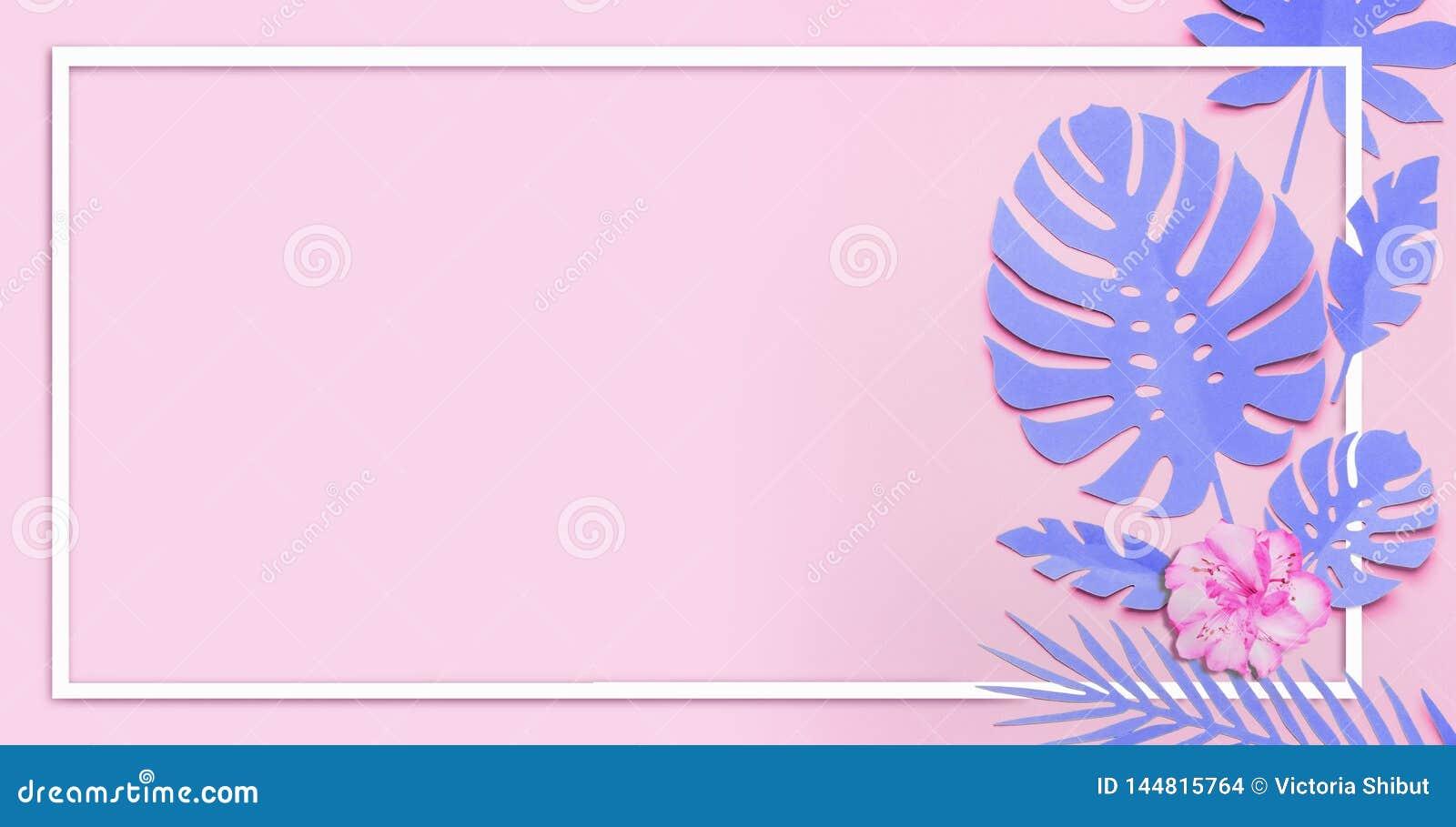 Purpere tropische bladerenlay-out Wit kader bij document tropische bladeren met bloemen op roze achtergrond Het creatieve samenst
