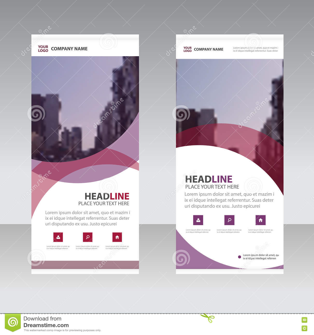 Purple Abstract Business Roll Up Banner Flat Design Template