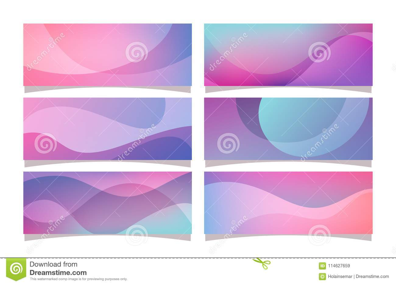 purple abstract gradient banner collection stock vector