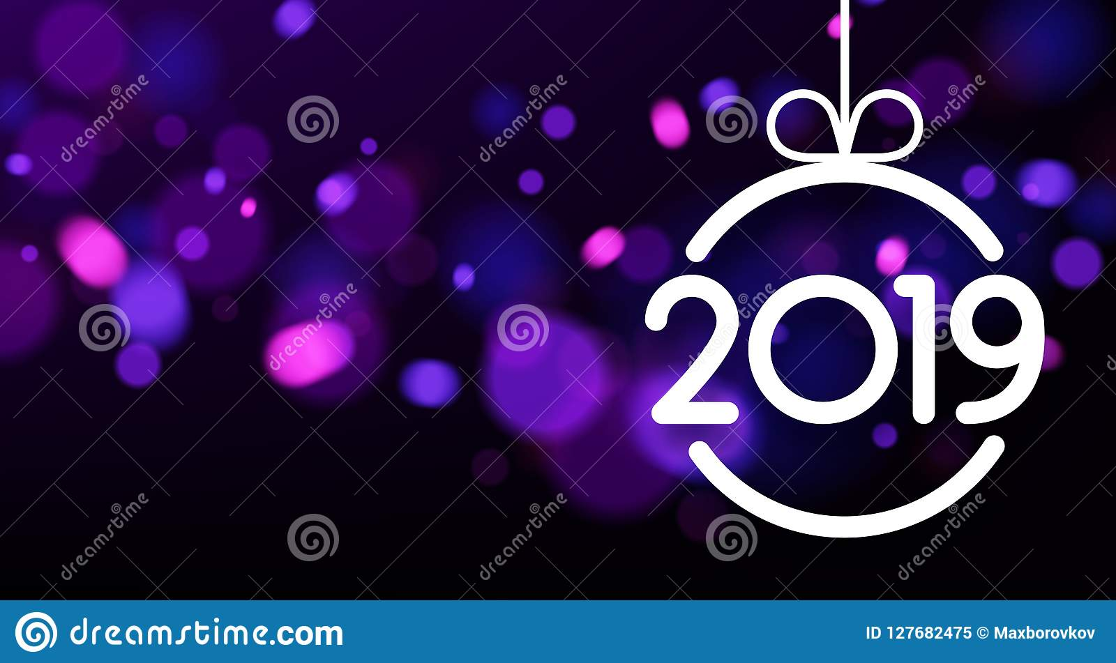 purple abstract 2019 new year card with christmas ball