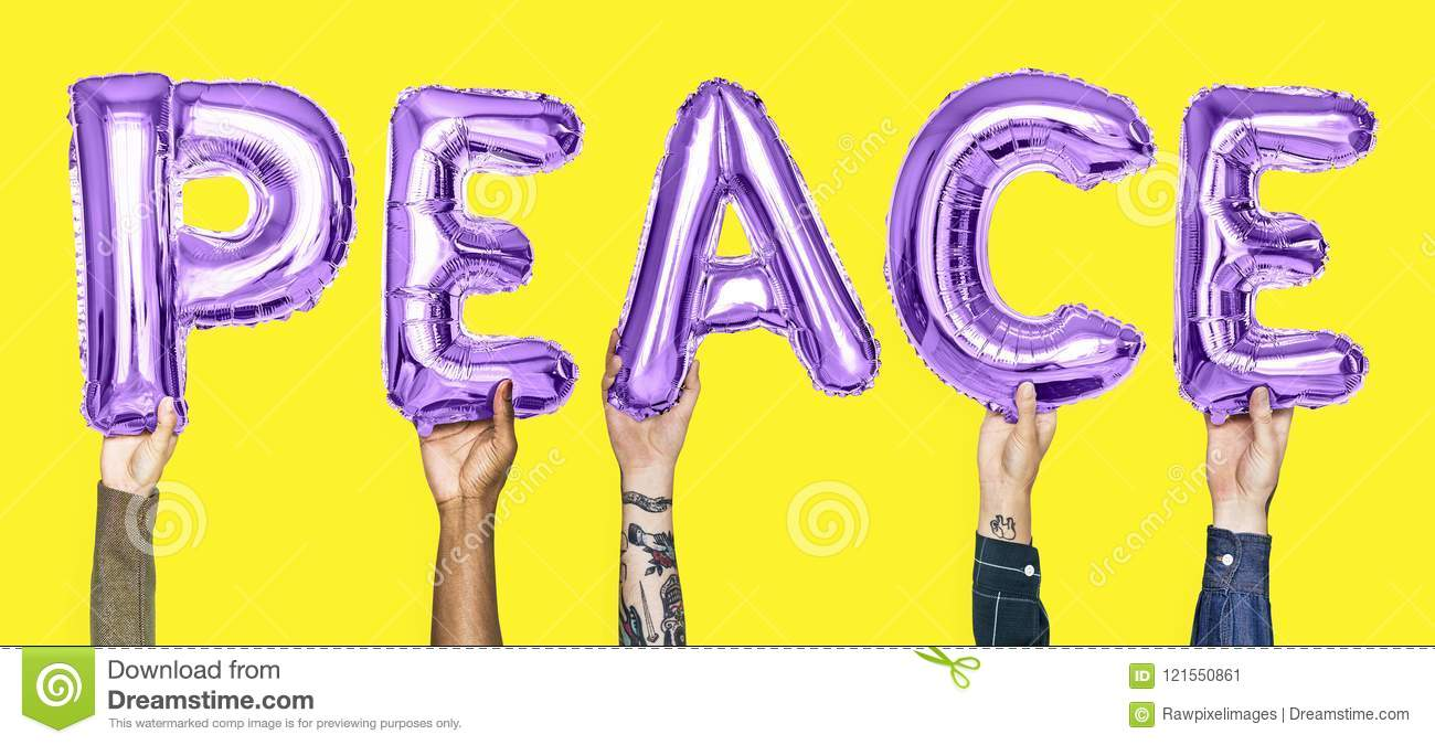 Purple alphabet balloons forming the word peace