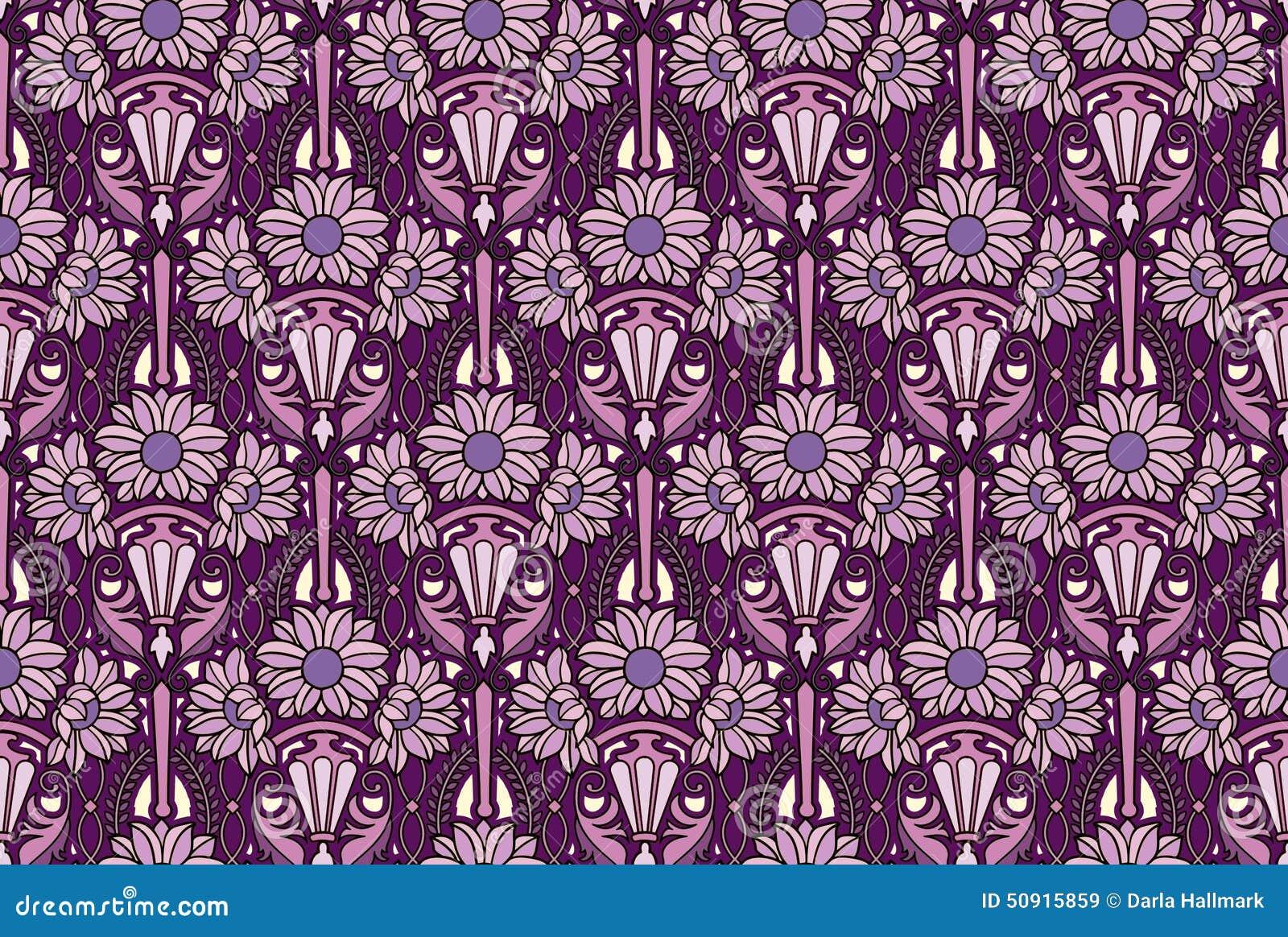 Purple Art Nouveau Wallpaper Stock Illustration Image