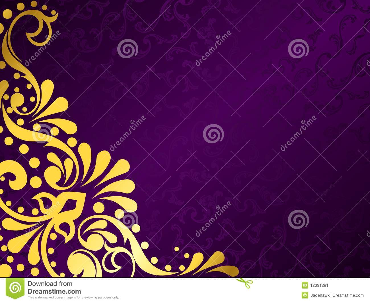 Purple Background With Gold Filigree, Horizontal Stock Vector - Illustration of illustration ...