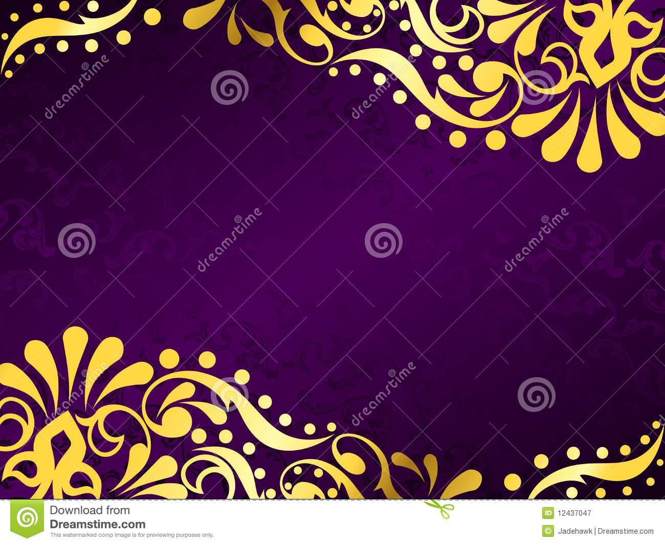 Blue purple gold abstract background design template royalty free - Purple Background With Gold Filigree Horizontal Royalty