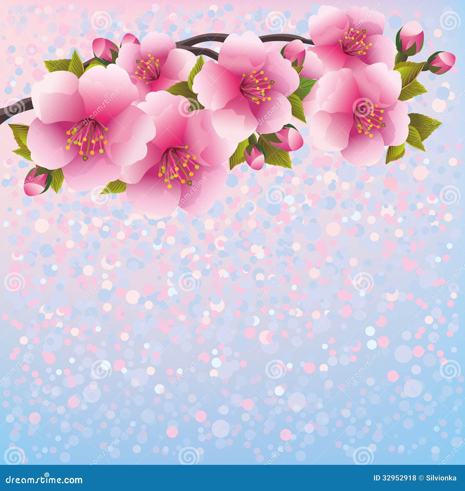 Purple Background With Sakura Blossom Japanese C Royalty