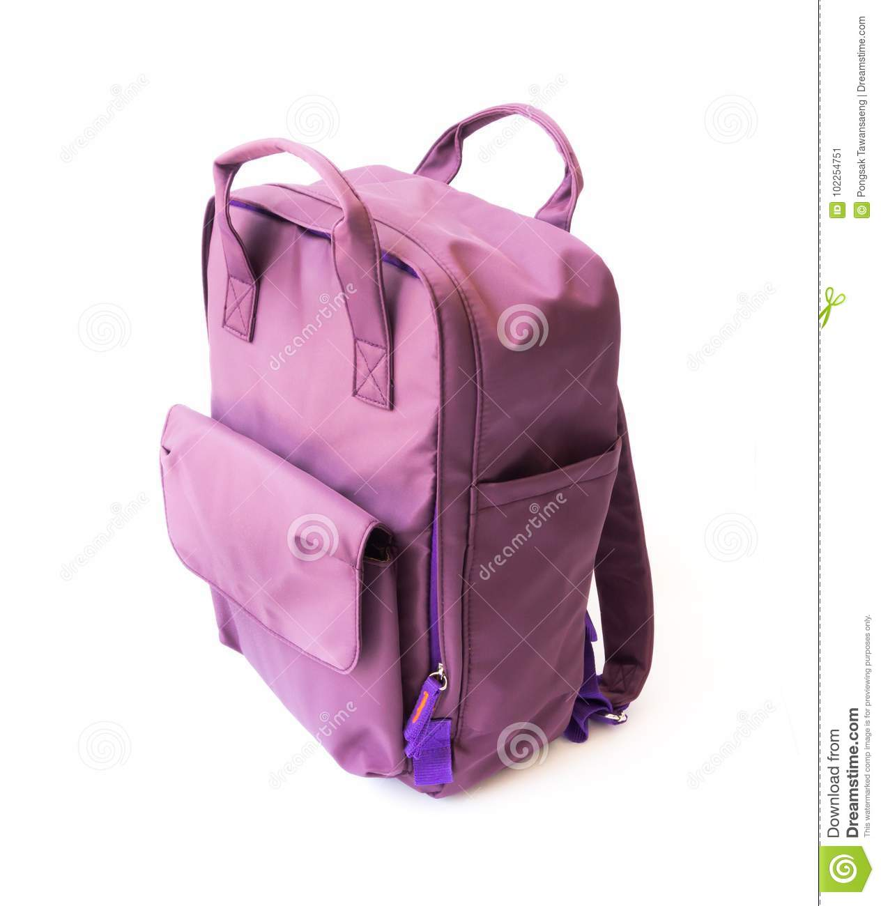Purple backpack on white background for school or tourist traveler concept 19f077c7d31d3